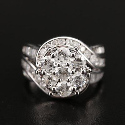 14K 3.00 CTW Diamond Swirl Cluster Ring