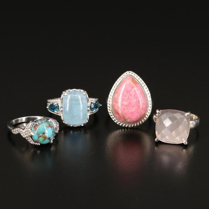 Sterling Rings Including Aquamarine, Rose Quartz and Additional Gemstones