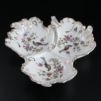 Limoges Porcelain Handled Divided Peacock and Blossom Dish, Mid-20th Century