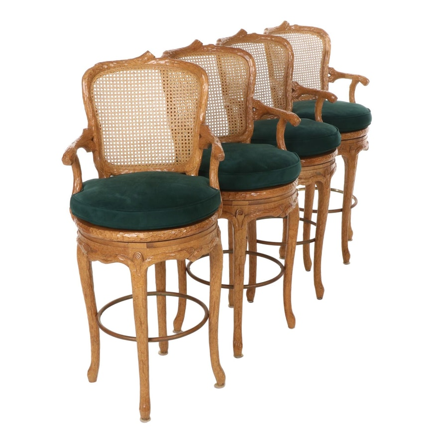 Four Louis XV Style Carved Log Form and Caned Swivel Barstools