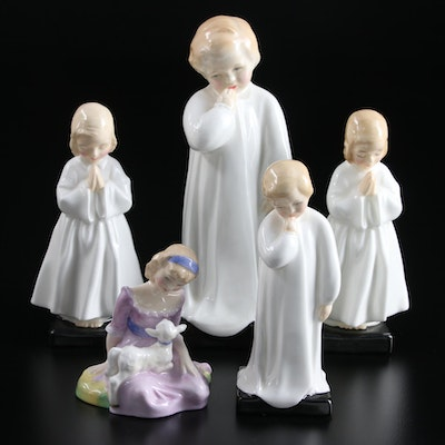 """Royal Doulton """"Mary Had a Little Lamb"""", """"Bedtime"""", """"Darling"""" and Other Figurines"""