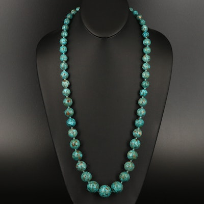 Graduated Beaded Necklace with Sterling Silver Clasp