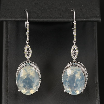 Sterling Common Opal and Diamond Earrings