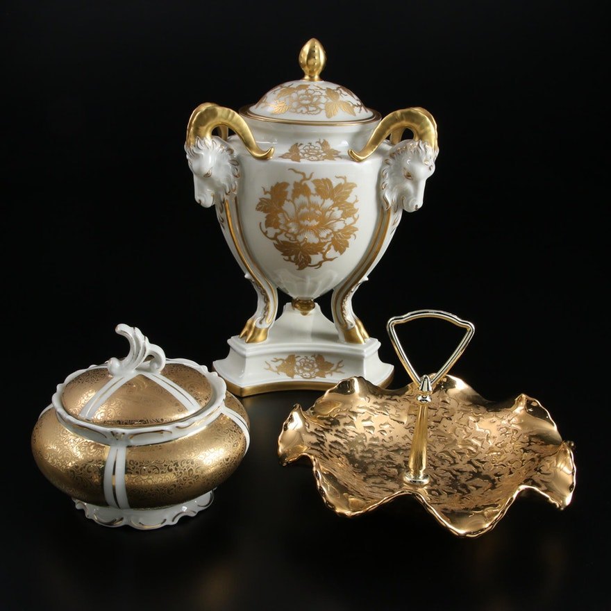 Rosenthal Rams Head Porcelain Lidded Vase and Other Gilt Encrusted Tableware