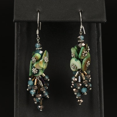 Sterling Silver Abalone and Glass Earrings