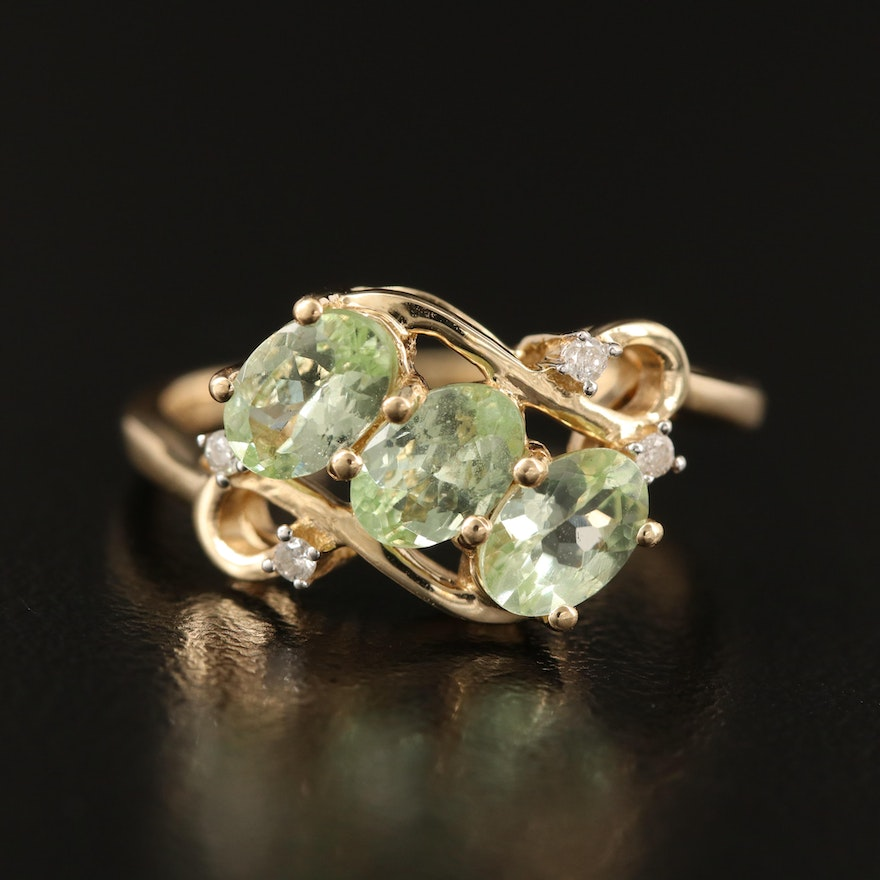 10K Spinel and Diamond Bypass Ring
