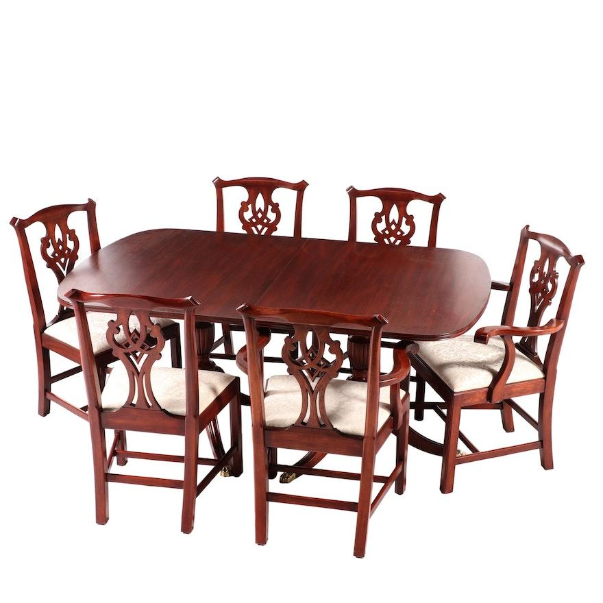 Henkel-Harris Cherry Seven-Piece Dining Set, Late 20th Century