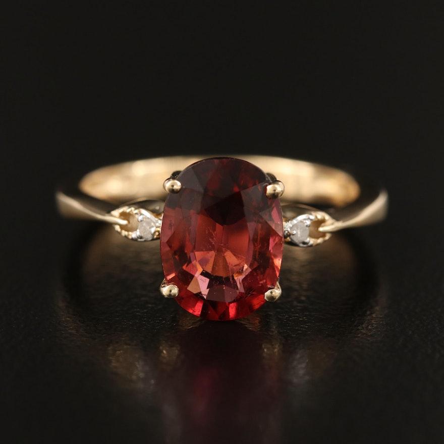 10K Tourmaline and Diamond Ring