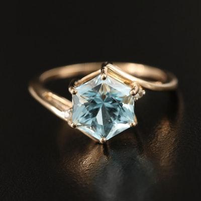 10K Sky Blue and White Topaz Ring