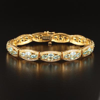Sterling Silver Apatite and Zircon Bracelet