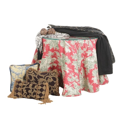Decorator Table with Custom Table Covers, Throw Pillows, and Other Textiles