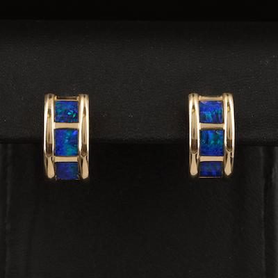 14K Opal Doublet Inlay J-Hoop Earrings