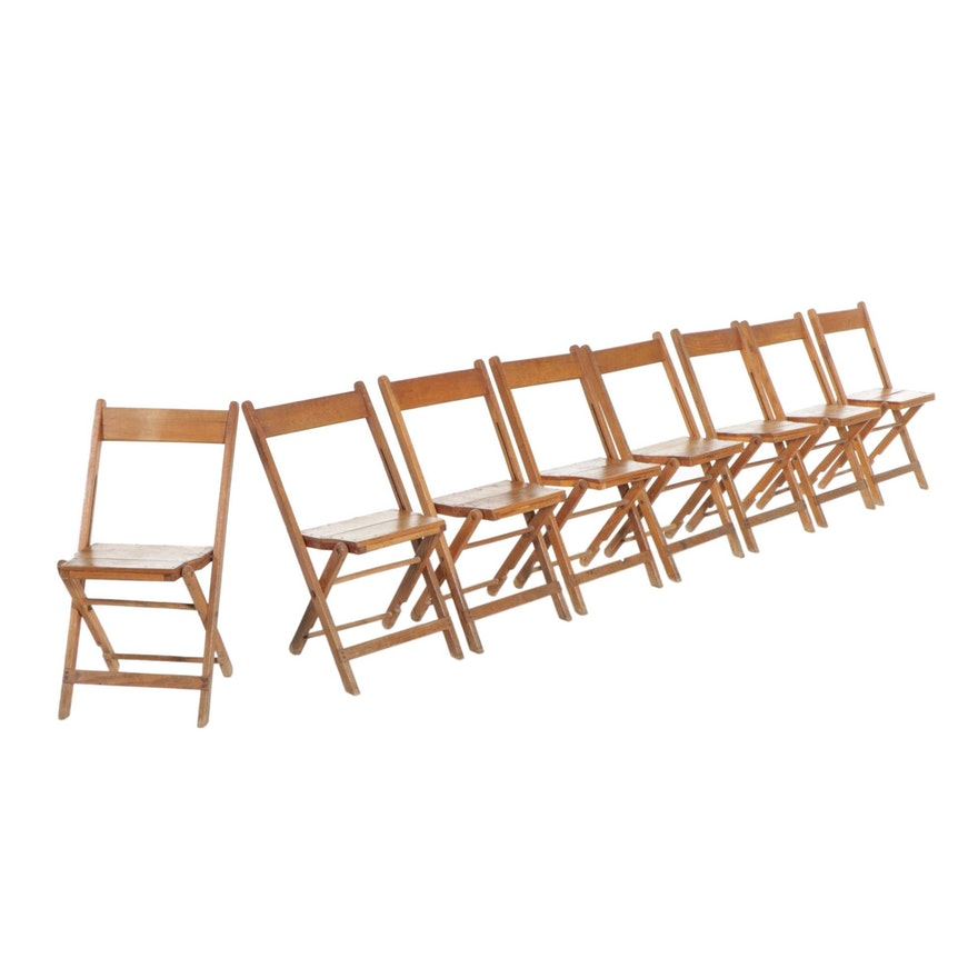 Eight Oak Folding Chairs, Mid-20th Century