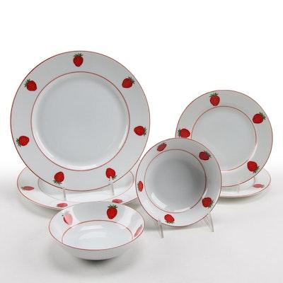 Neiman Marcus Strawberry Motif Porcelain Dinnerware, Late 20th Century