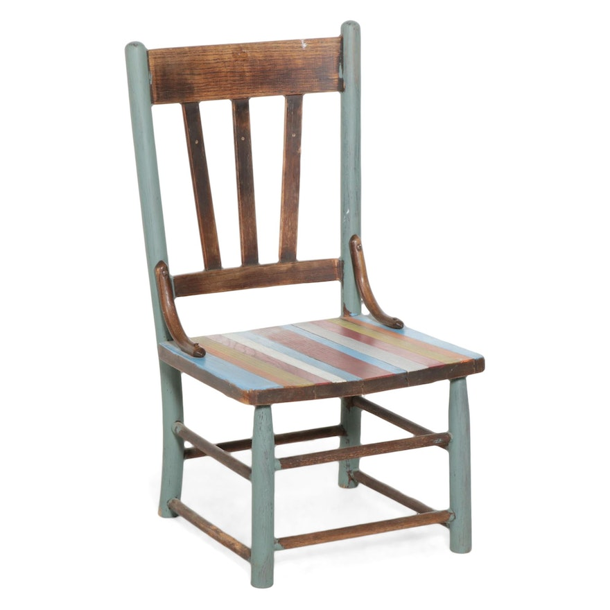 Oak Child Size Side Chair with Hand Painted Decoration, Early 20th Century