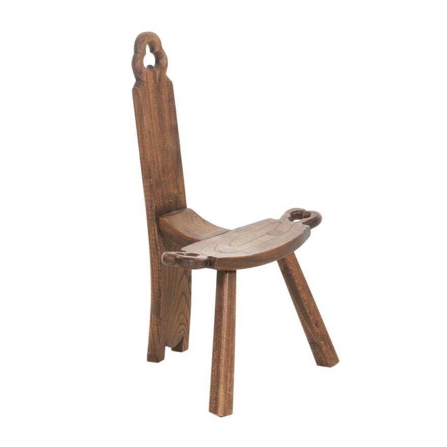 Primitive Style Oak Shepherd's Chair