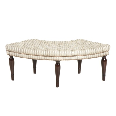 Crescent Shaped Hall Bench with Button Tufted Upholstery