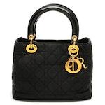 Christian Dior Lady Dior Black Nylon Cannage Two-Way Bag