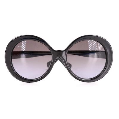 Salvatore Ferragamo SF956S Black Oversize Round Sunglasses with Case and Box