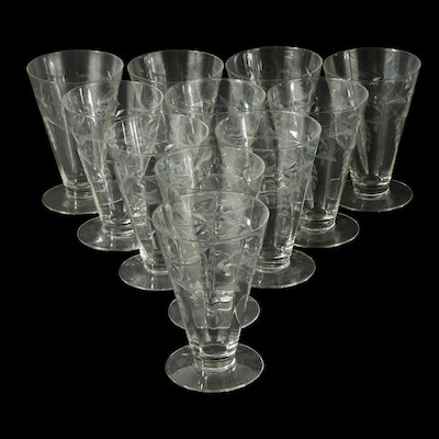 Floral and Vine Clear Etched Glass Goblets, Mid to Late 20th C.
