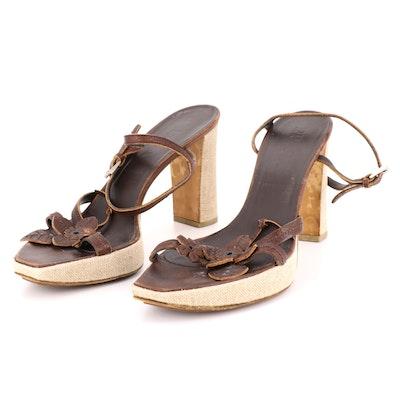 Prada Brown Leather Floral Embellished Platform Block Heeled Sandals
