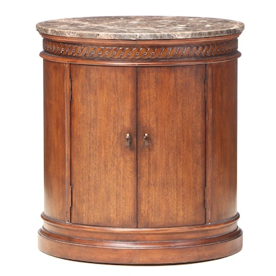 Mahogany Drum or Pedestal End Table with Marble Top