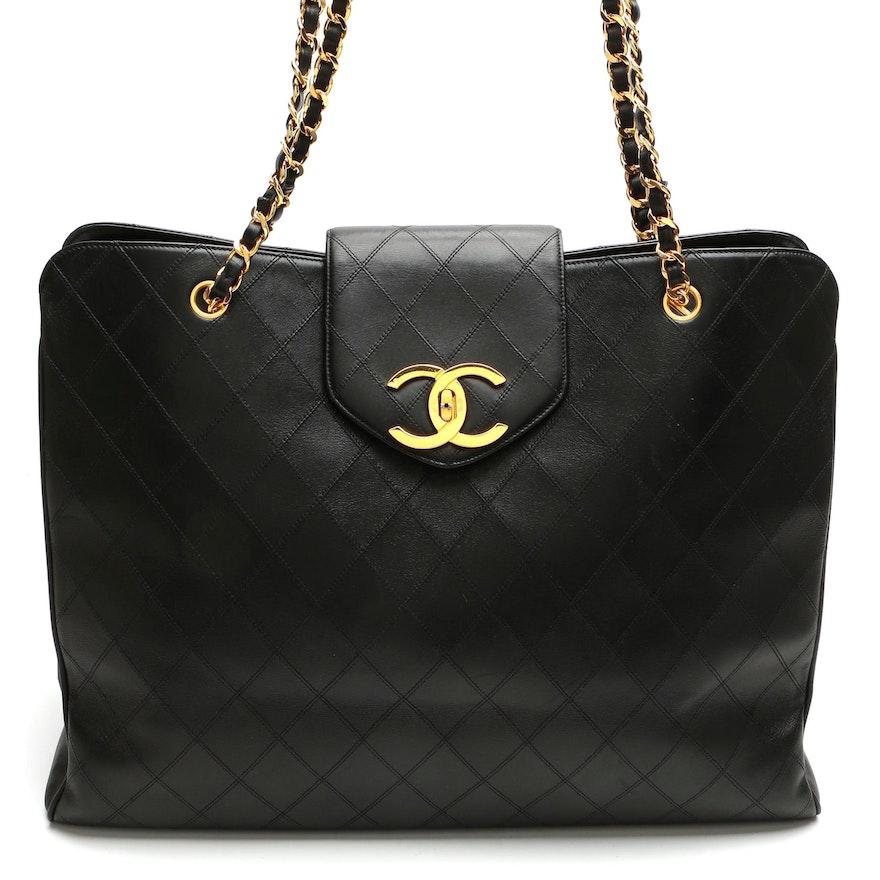 Chanel XL Supermodel Tote/Weekender Bag in Black Diamond Stitch Lambskin Leather