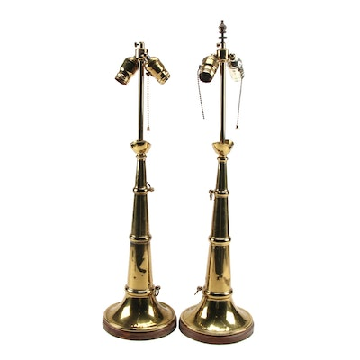 Brass Fireman's Speaking Trumpet Adapted as Table Lamps, 20th Century