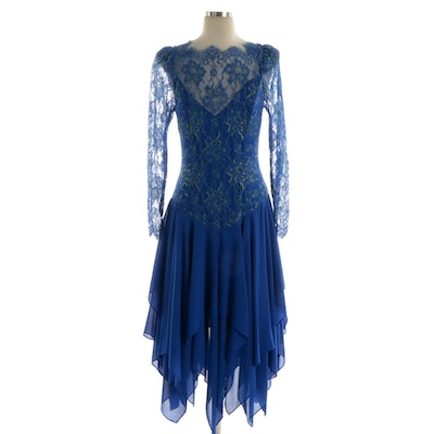 Casadei Blue Lace and Crepe Drop Waist Occasion Dress