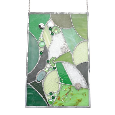 Green Stained Glass Abstract Form Hanging Panel with Agate Slice Inset