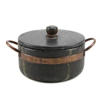 "Soapstone Cooking Pot ""Panelas de Pedra Sabão"" with Copper Handles"