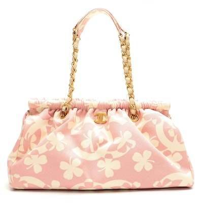 Chanel CC Clover Print Pink and White Canvas Shoulder Bag with Accessory Pouch