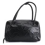 Chanel Triple CC Shoulder Bag in Black Lambskin Leather