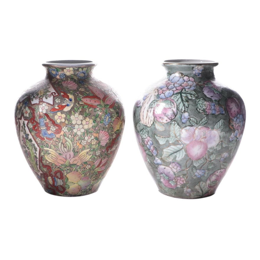 Chinese Fruit and Flower Vases, Mid to Late 20th Century