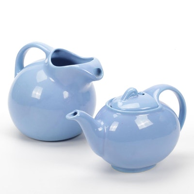 "Hall ""Cadet Blue"" Ceramic Teapot and Pitcher"