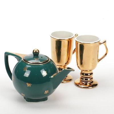"Hall China ""Golden Glo"" Irish Coffee Mugs and Star Patterned Teapot"