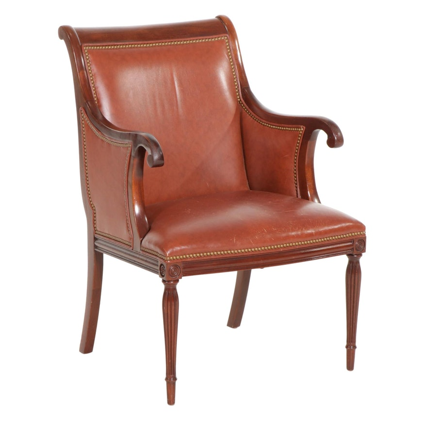 Southwood Connoisseur Sheraton Style Leather Upholstered Armchair