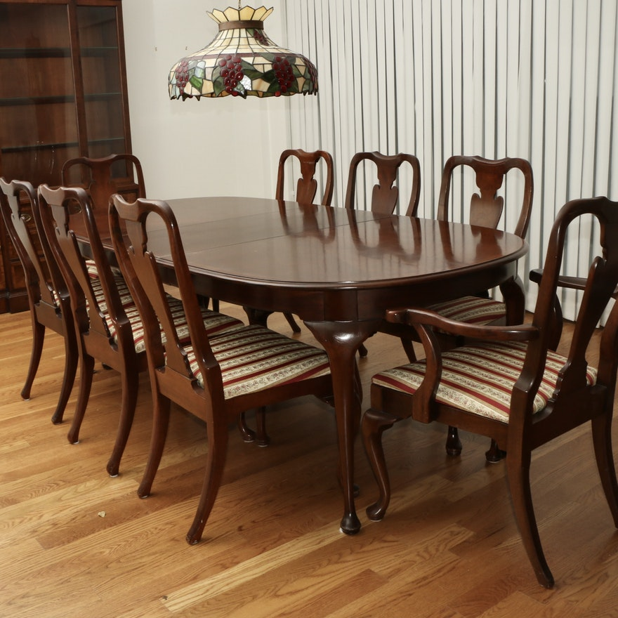 Hickory Chair Company Mahogany Dining Table with Fiddle Back Chairs
