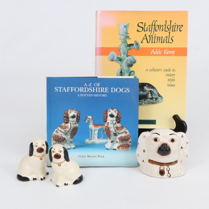 Staffordshire  Spaniel Coin Bank, Miniature Figurines and  Reference Books Books
