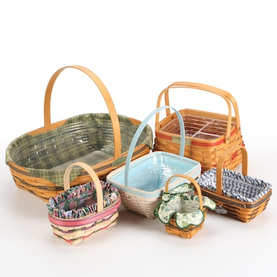"""Longaberger """"Hospitality"""" and Other Handwoven Lined Baskets, 1990–2000s"""