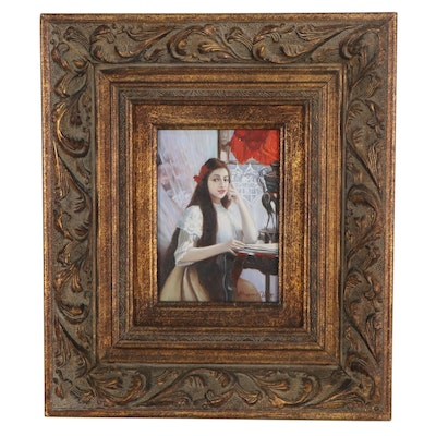 """Oil Painting after Jules Verdier """"A Portrait of a Young Girl,"""" Late 20th Century"""