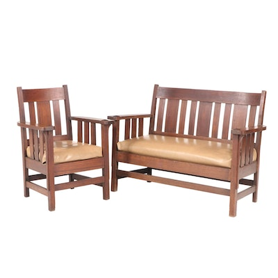 Arts and Crafts Quartersawn Oak Settee and Armchair, Early 20th Century