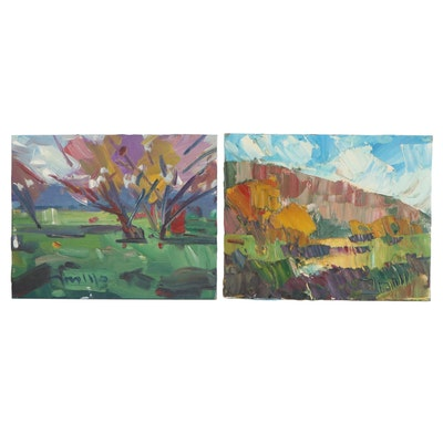 """Jose Trujillo Oil Paintings """"Early Autumn Afternoon,"""" and """"Long Shadows,"""" 2017"""