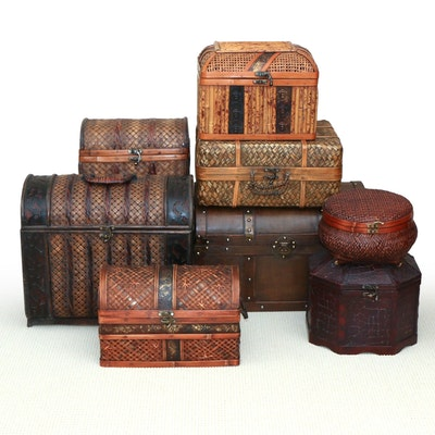 Chinese Woven Rattan, Bamboo, and Decorative Wood Storage Boxes