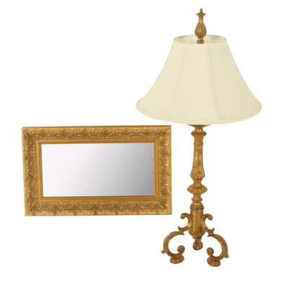 Windsor Art Baroque Style Wall Mirror with Gilt Metal Table Lamp