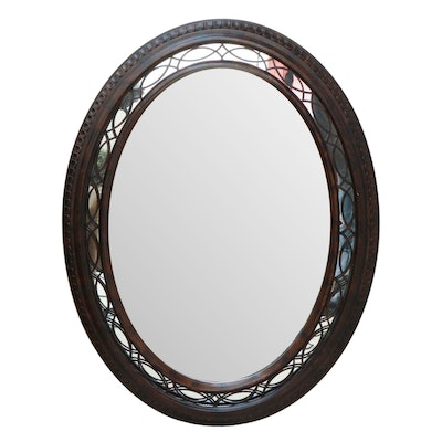 Contemporary Wooden Scrollwork Oval Wall Mirror