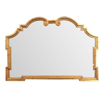Hollywood Regency Style Gilt Wood Scrolled Broken Arched Wall Mirror
