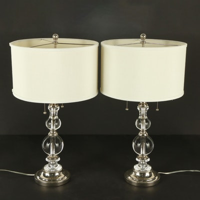 Pair of Contemporary Stacked Glass and Metal Table Lamps