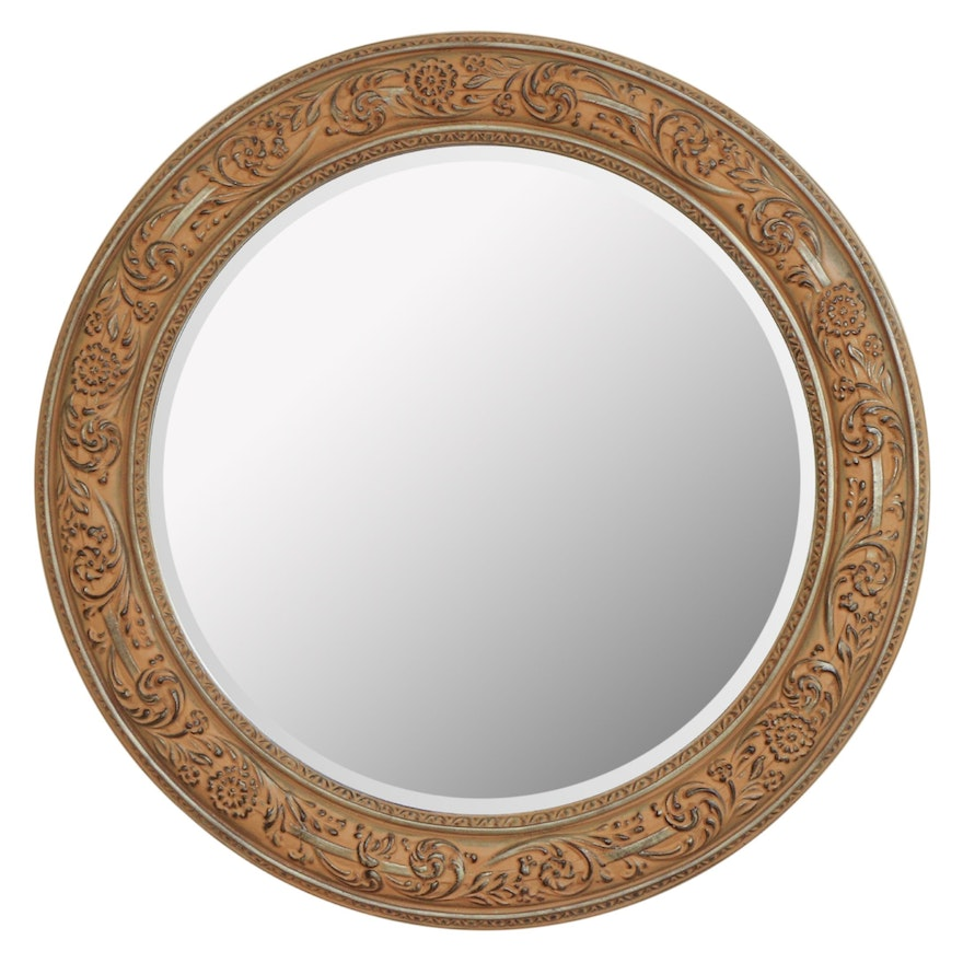 Round Carved Wood Wall Mirror