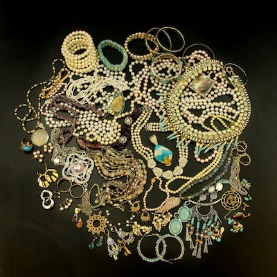 Costume Jewelry Featuring Kirks Folly, Amethyst, Abalone and Rose Quartz
